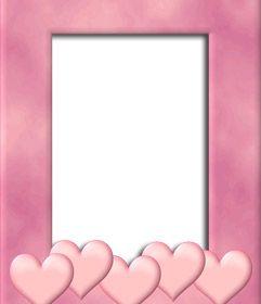 Marco para foto con el borde color rosa con decoraci n de - Marcos de corazones para fotos ...