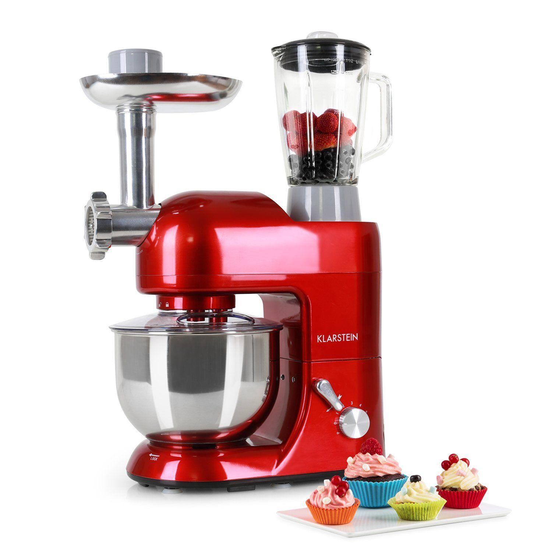 Klarstein Lucia Rossa Multifunction Stand Mixer Kitchen Machine 650 Watts 5 3 Qt Bowl 1 3 Qt Mixing Glass Kitchen Aid Kitchen Machine Mixing Glass