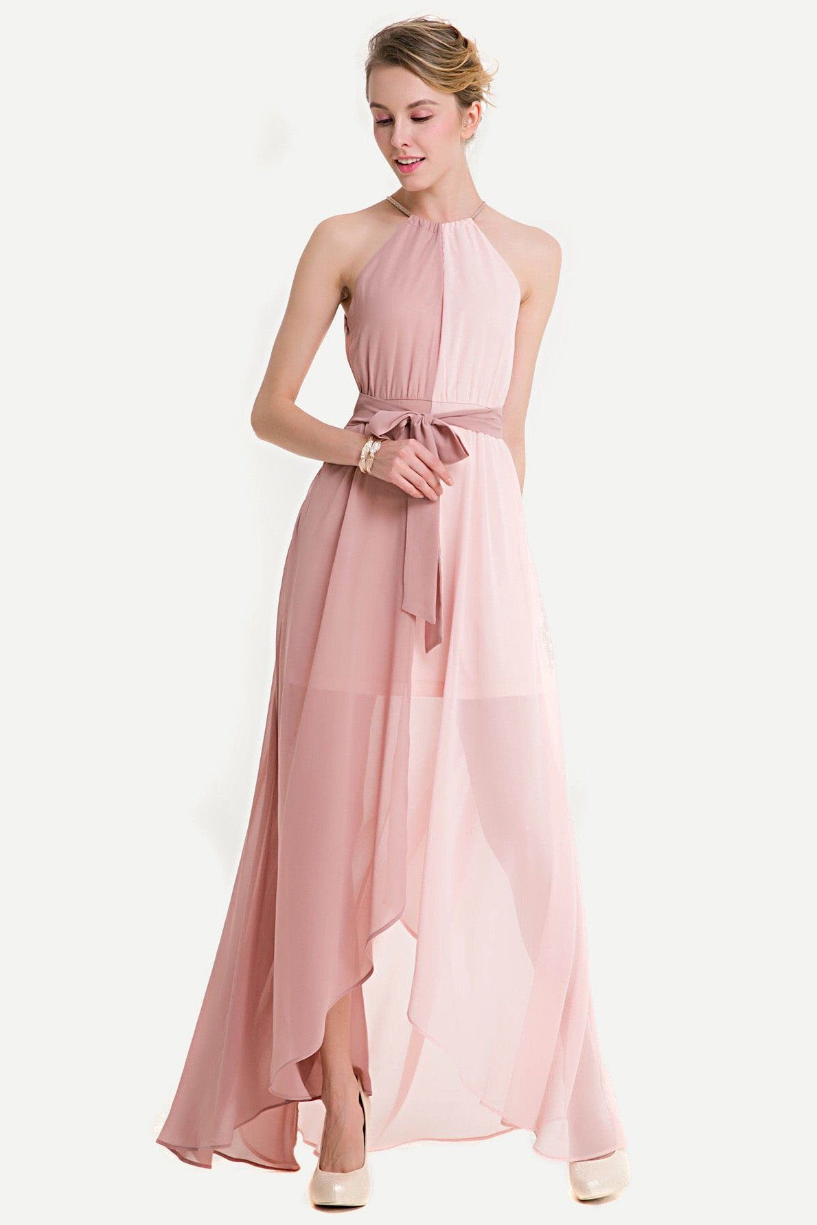 Pink Two Toned Halter Dip Hem Chiffon Maxi Dress Material: Chiffon ...