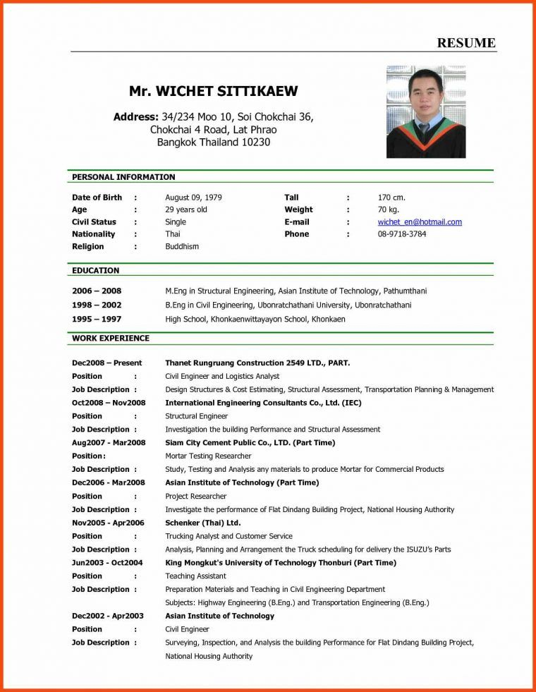 5 Curriculum Vitae For Job Application Sample New Tech