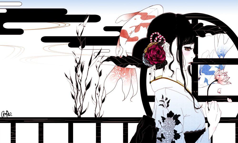 anime lady in kimono