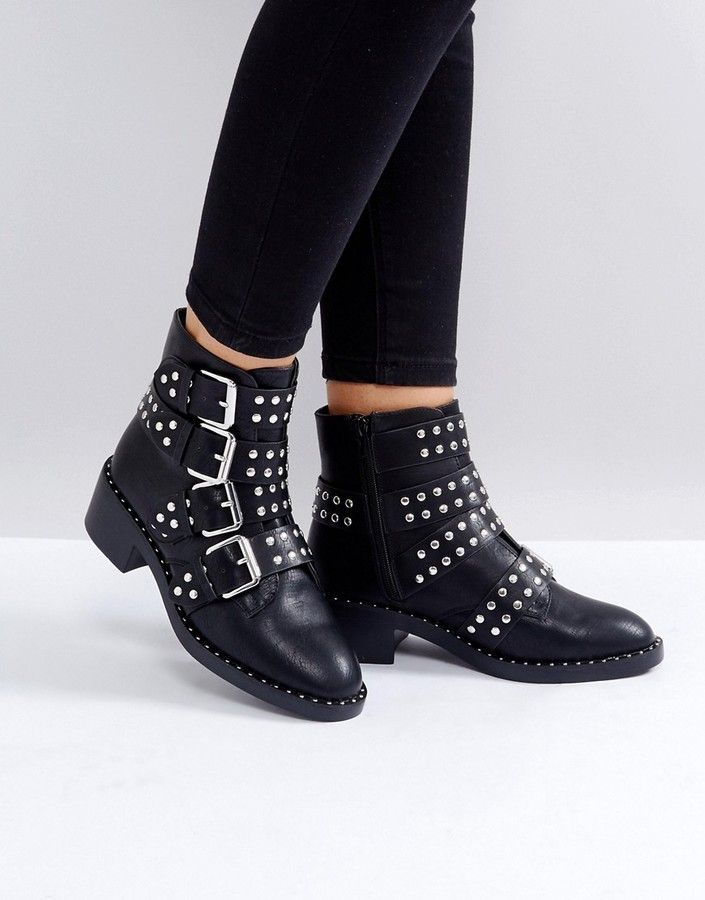 17ee299b691 Glamorous Black Studded Buckle Flat Ankle Boots | Shoes | Studded ...
