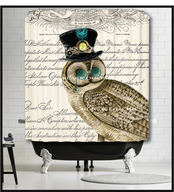 Steampunk Owl Shower Curtain