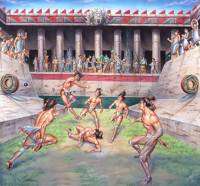 The Aztec People Played A Game Called Ollama That Is Said To Have Been A Precursor To Soccer This Game Involved Mexico Culture Aztec Art Aztec Civilization
