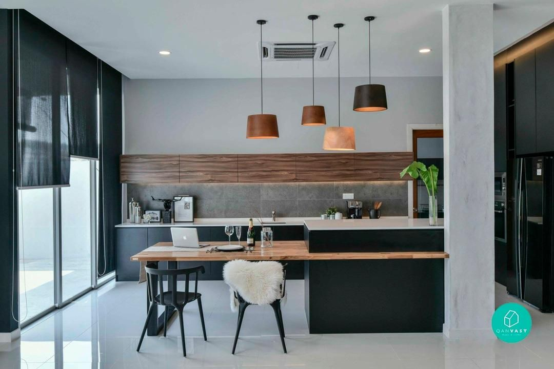 6 Gorgeous Landed Homes In Malaysia Kitchen Island Dining Table