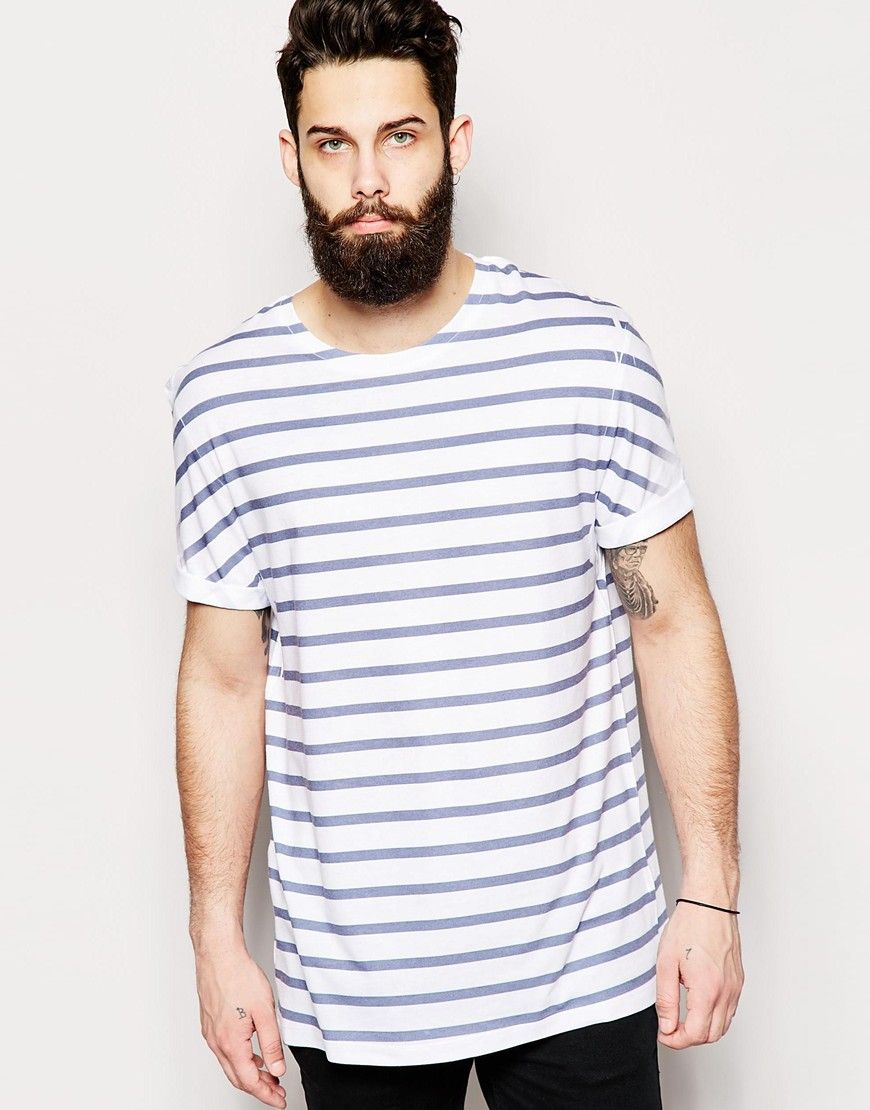 Image 1 of ASOS T-Shirt With Crew Neck And Navy Bretton Stripe