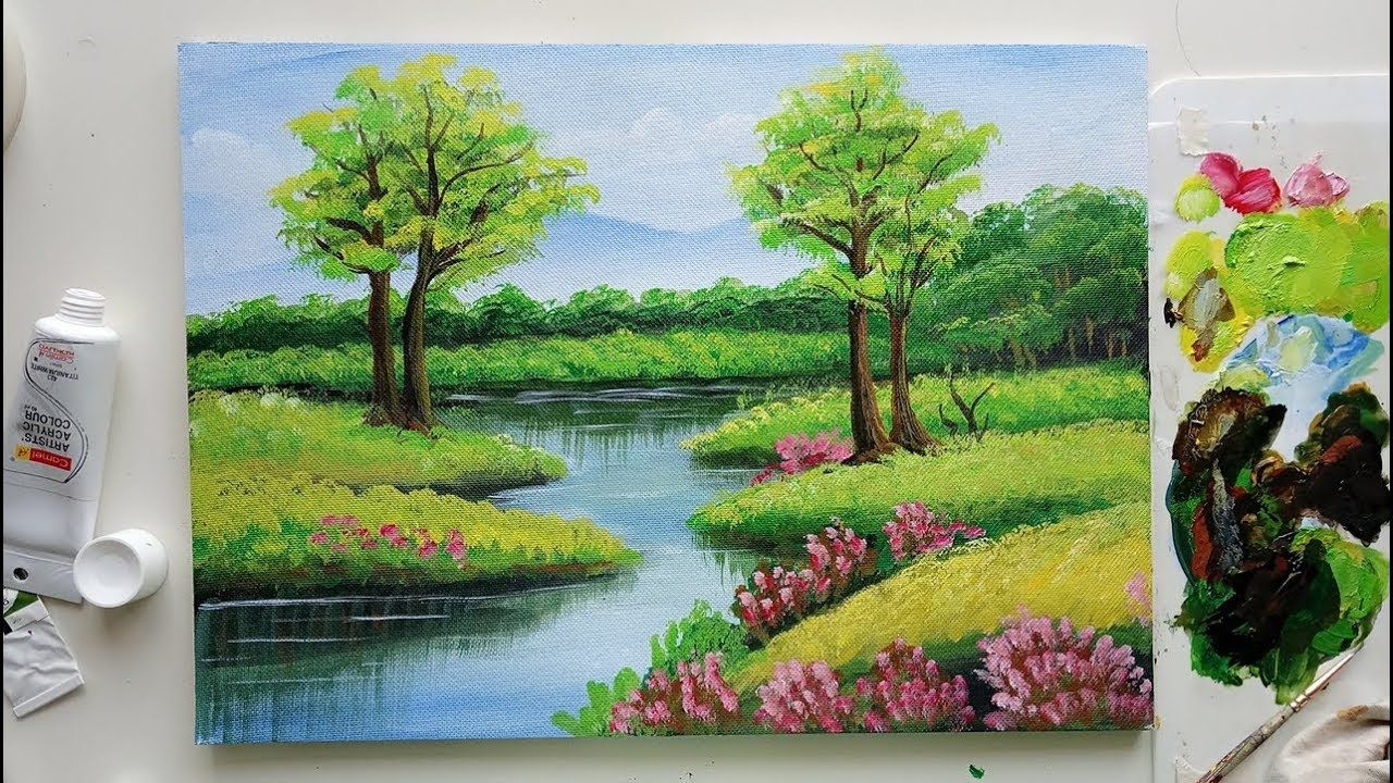 Trees In A Beautiful Landscape Easy Landscape Painting Acrylic Painting Easy Landscape Paintings Landscape Paintings Acrylic Beautiful Landscape Paintings