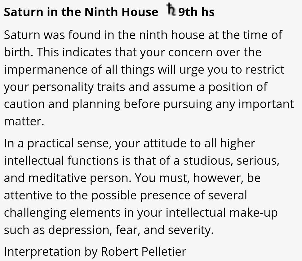 Saturn in the 9th house | astrology | Astrology, House, Natal