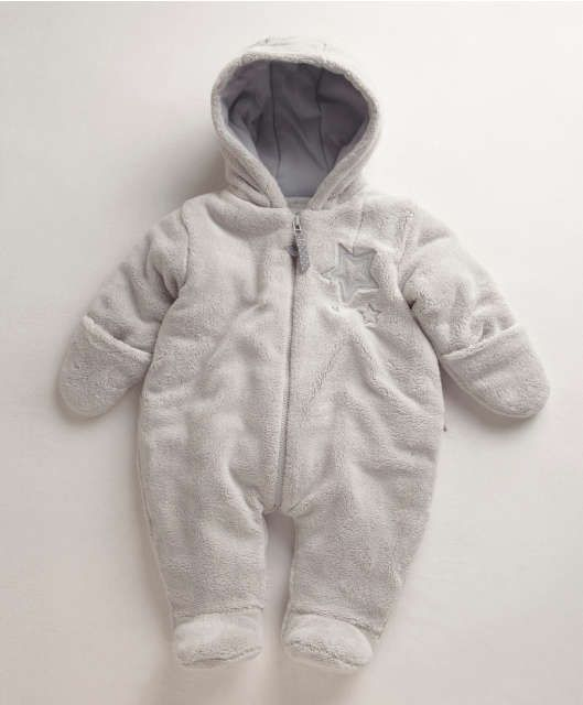 Mamas /& Papas Baby Welcome to The World Fur Pramsuit Romper