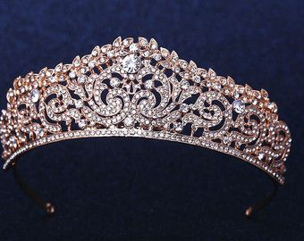 Bridal Crown Tiara Rose Gold Wedding Swarovski