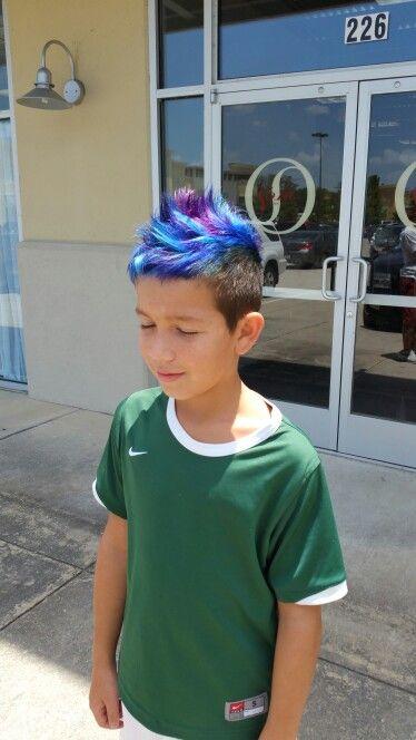 Blue Purple Hair Mowhawk Colorful Bright Hair Boy Boys Dyed Hair