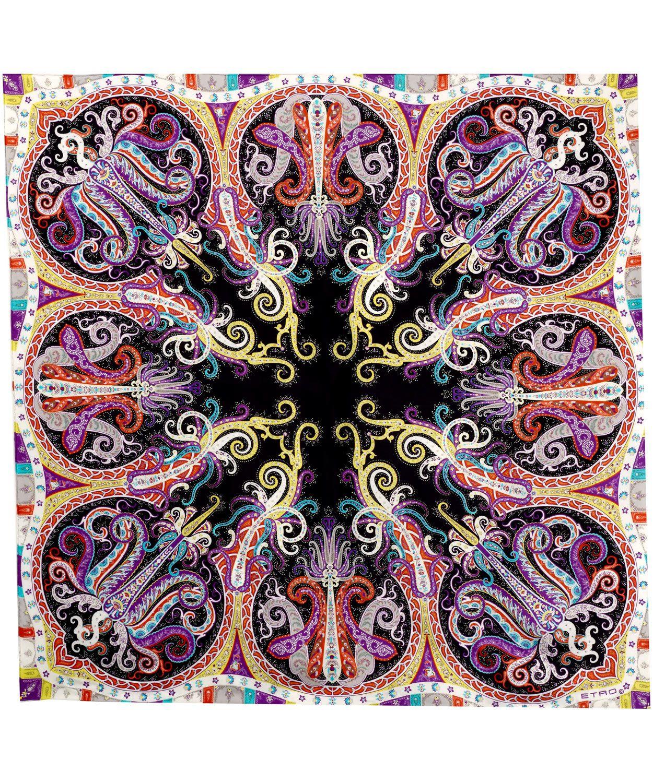 Multicoloured Paisley Swirl Print Silk Scarf, Etro. Shop ...