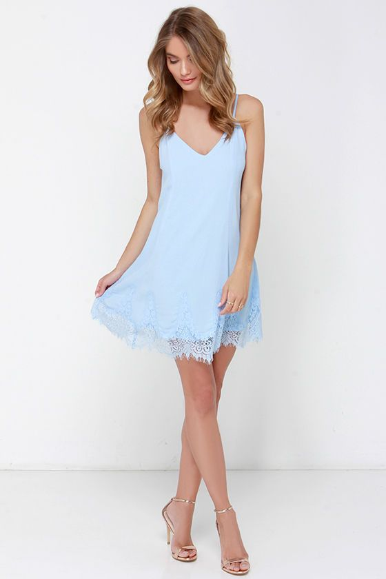 Highly Refined Light Blue Lace Shift Dress | Romantic, Lace and ...