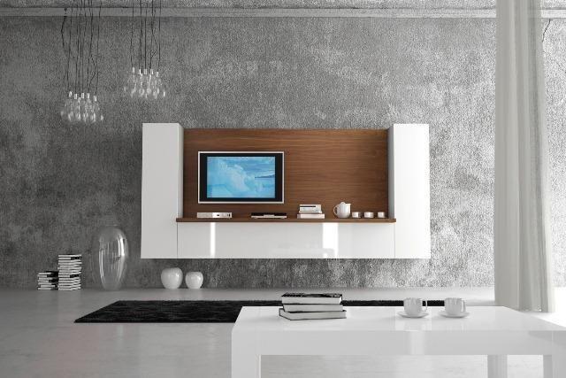 Moderno Mueble de Salón con fondo de madera y mueble en blanco - Zb - muebles en madera modernos