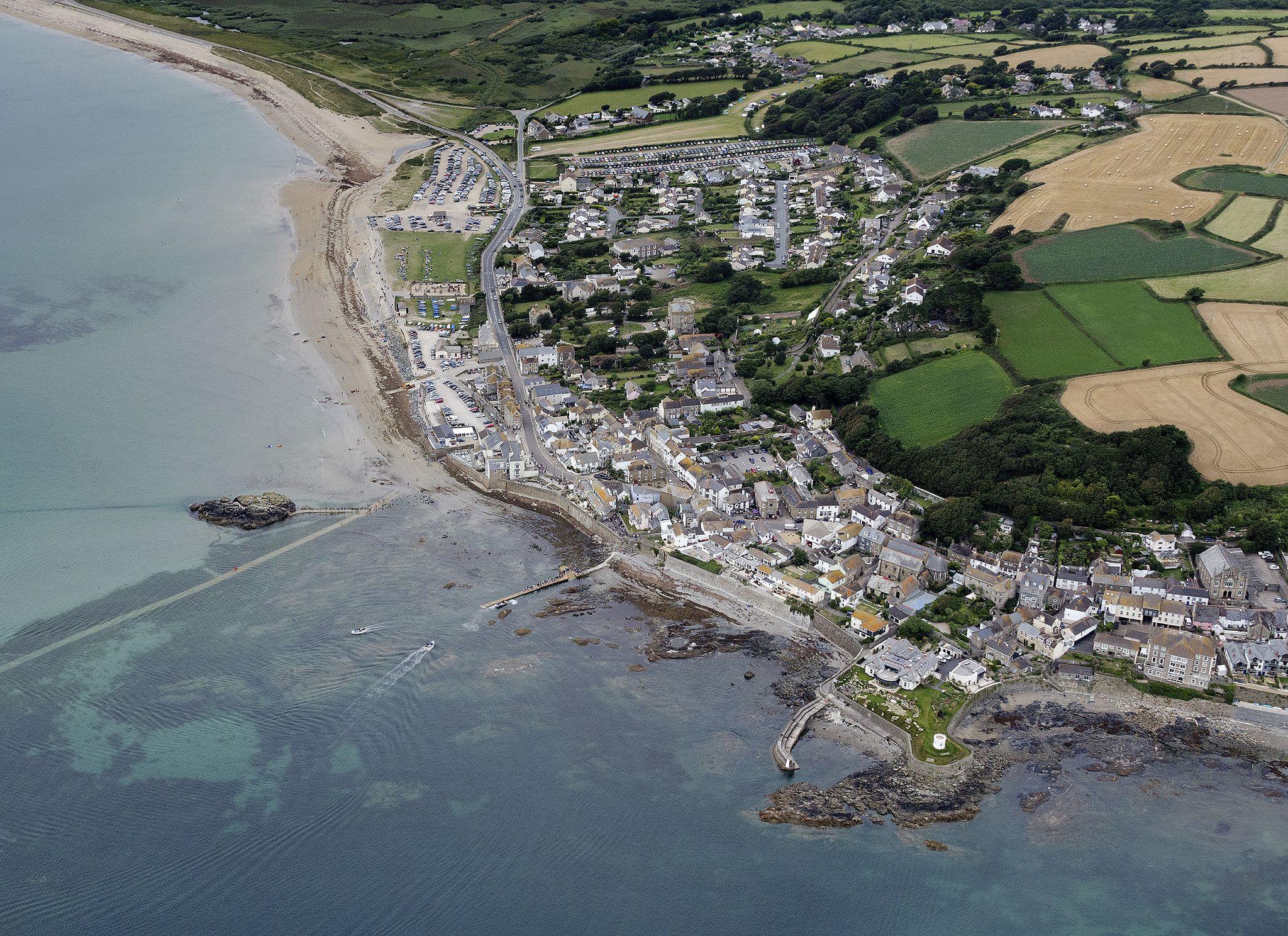 Marazion in Cornwall UK aerial image | by John Fielding #stmichaelsmount #castle #abbey #cornwall #coast #aerial #marazion