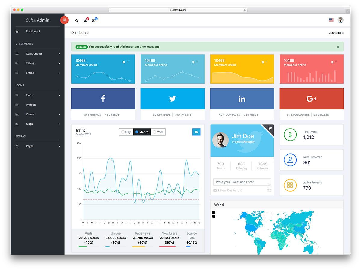 20 Best Free Dashboard Templates For Amazing Admins 2018 Colorlib Dashboard Template Free Dashboard Templates Admin Panel Template