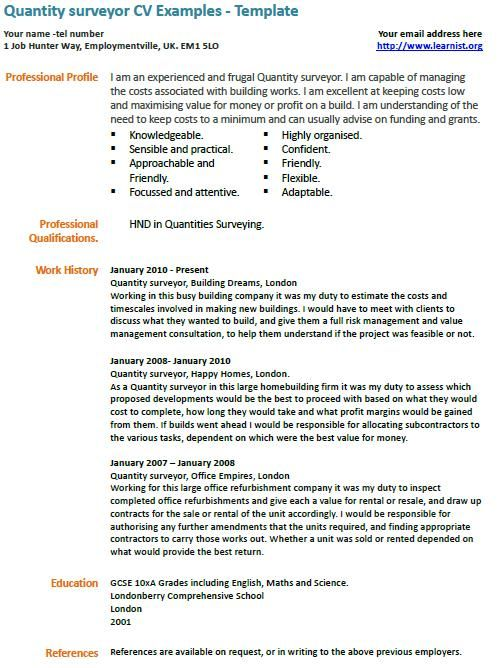 Quantity Surveyor Cv Example Qs Pinterest Cv Examples Resume