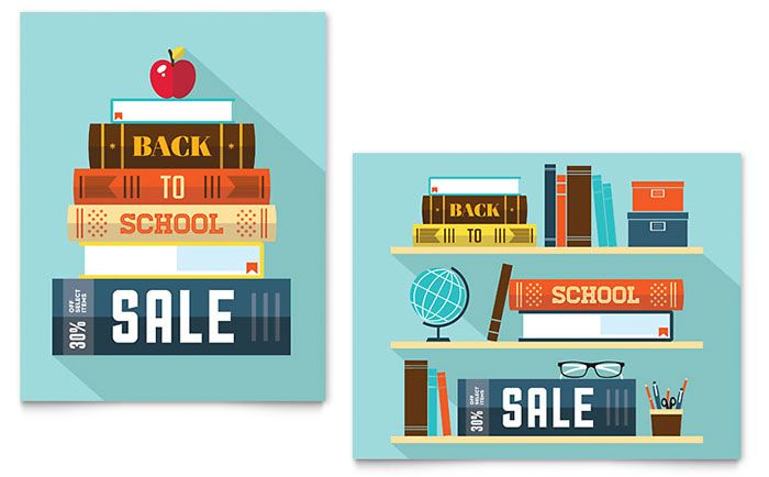 Back to School Books Sale Poster Template Design Illustrations - poster word template