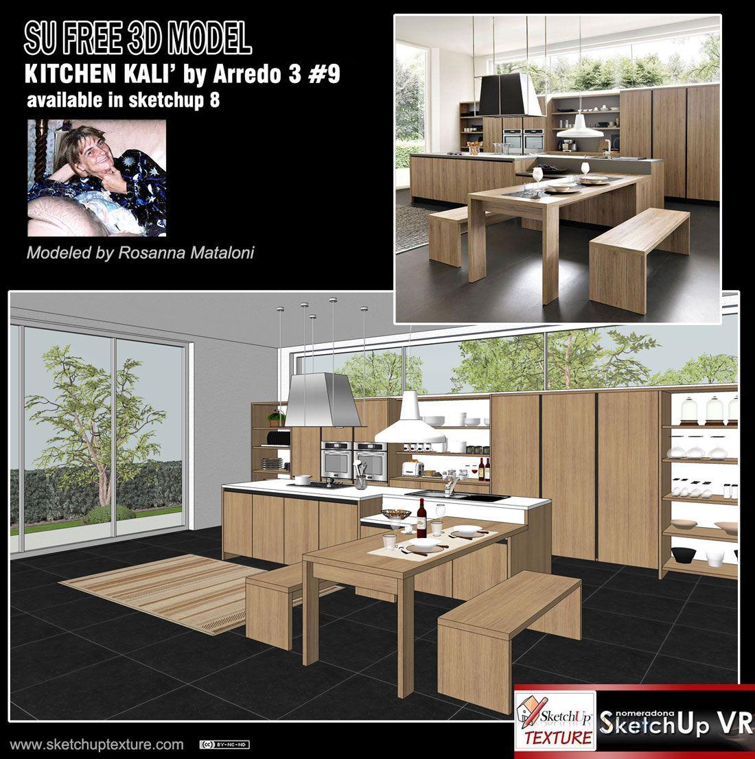 Free sketchup 3dmodel modern Kitchen 9 Italian Design