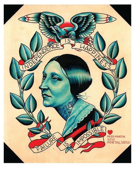 Vintage Americana Susan B Anthony Tattoo By MissMartinTattoos 1600
