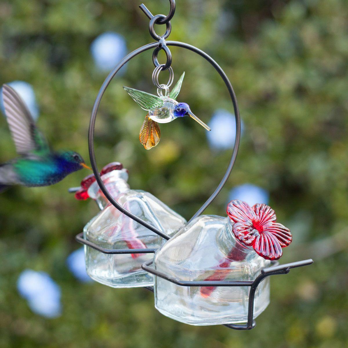 Bouquet 2 Deluxe Glass Hummingbird Feeder Yard Envy Humming Bird Feeders Glass Hummingbird Feeders Bird Feeders