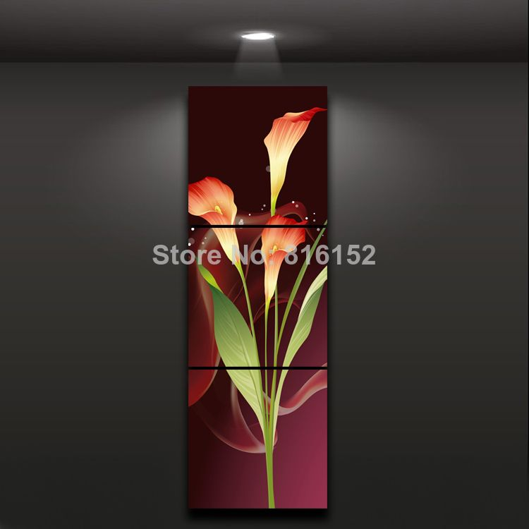 Us 13 97 3 Panel Paintings Red Calla Floral Canvas Wall Art Printed Picture For Living Room Hotel Wall Decoration Painting Roller Decorative Art Paintingdecor Floral Wall Art Canvases Wall Art Prints Flower Painting