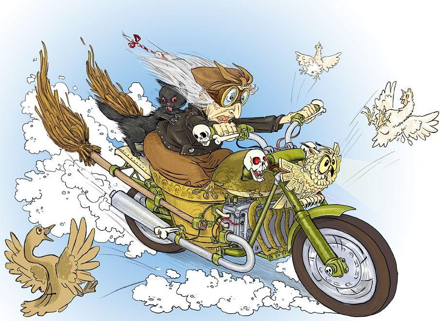 Гифка, открытка мотоциклистке