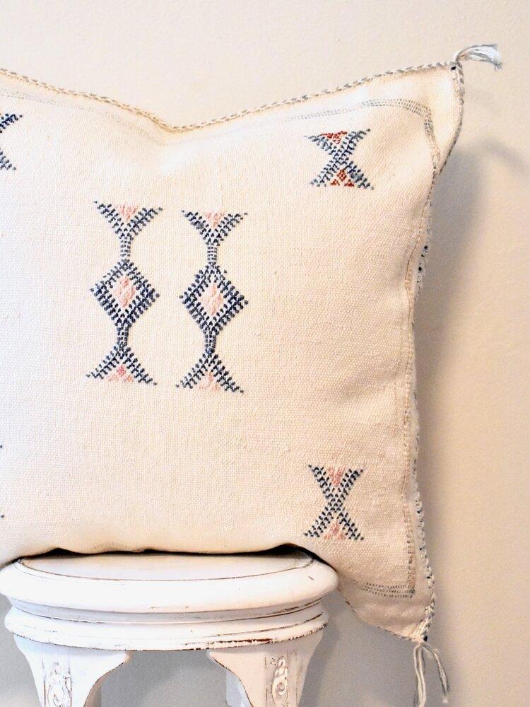 Moroccan Sabra Pillow — Indigo & Saffron