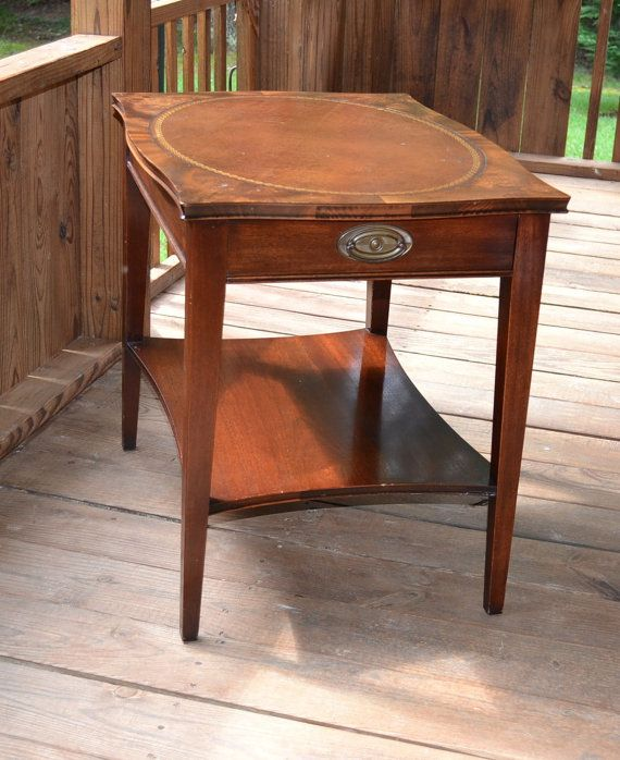 SOLD   Vintage Antique Mahogany Leather Top Table With Drawer Trende Side  Table PanchosPorch