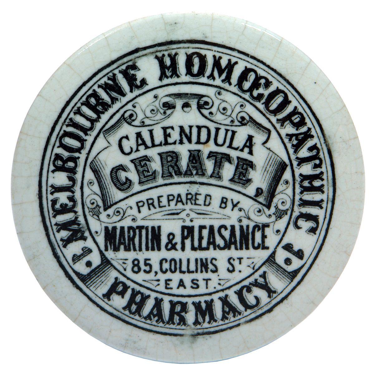 Melbourne Homeopathic Pharmacy, Martin & Pleasance. Calendula Cerate. Black & White Ceramic Pot Lid. c1890s.