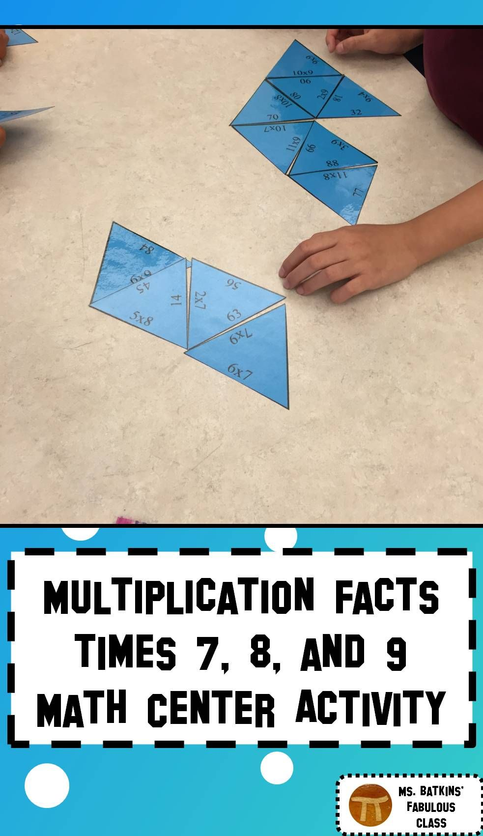 Multiplication Math Facts Puzzle for 7 , 8 , and 9 times tables ...