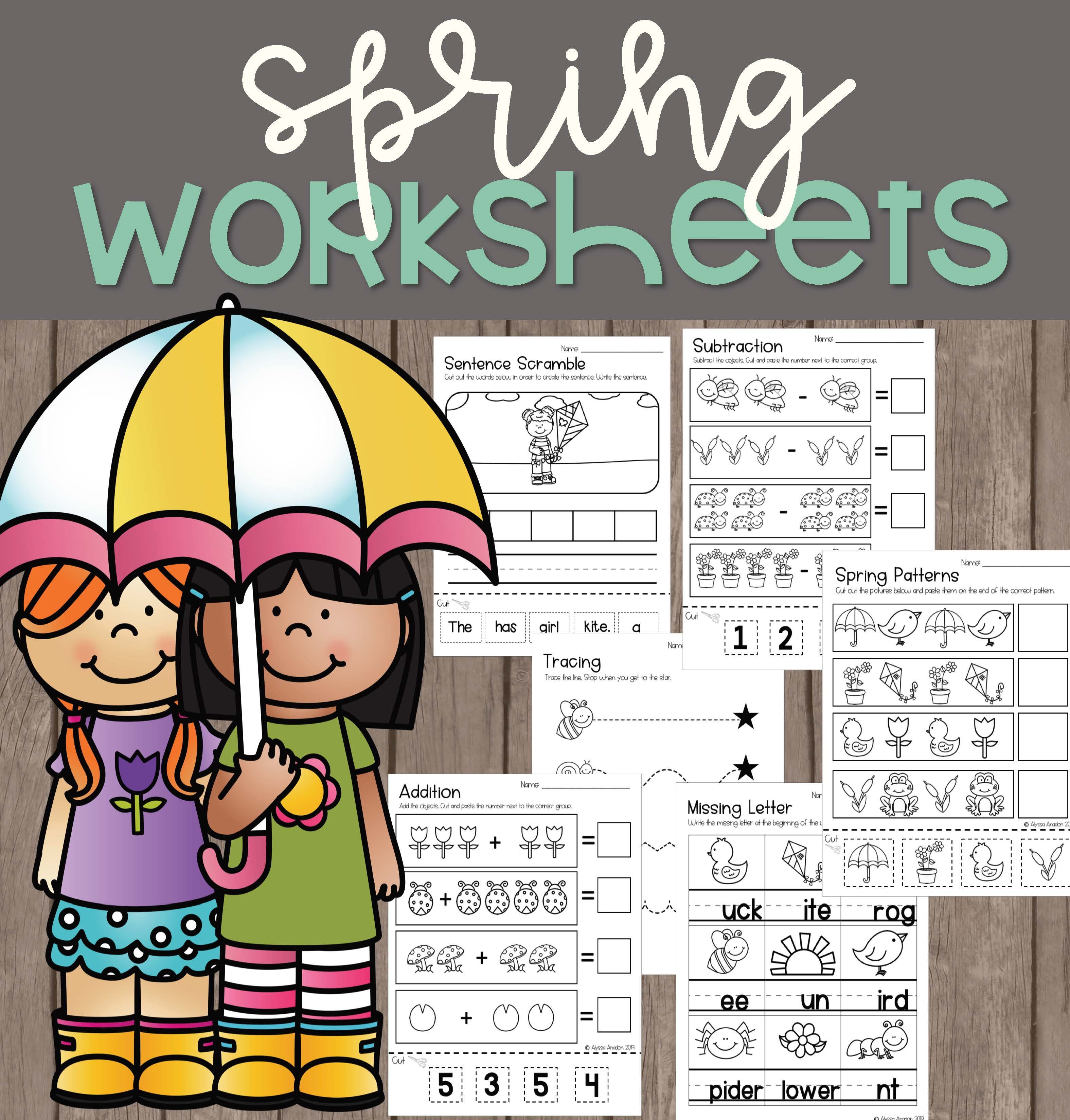 Spring Worksheets Kindergarten Special Education Addition