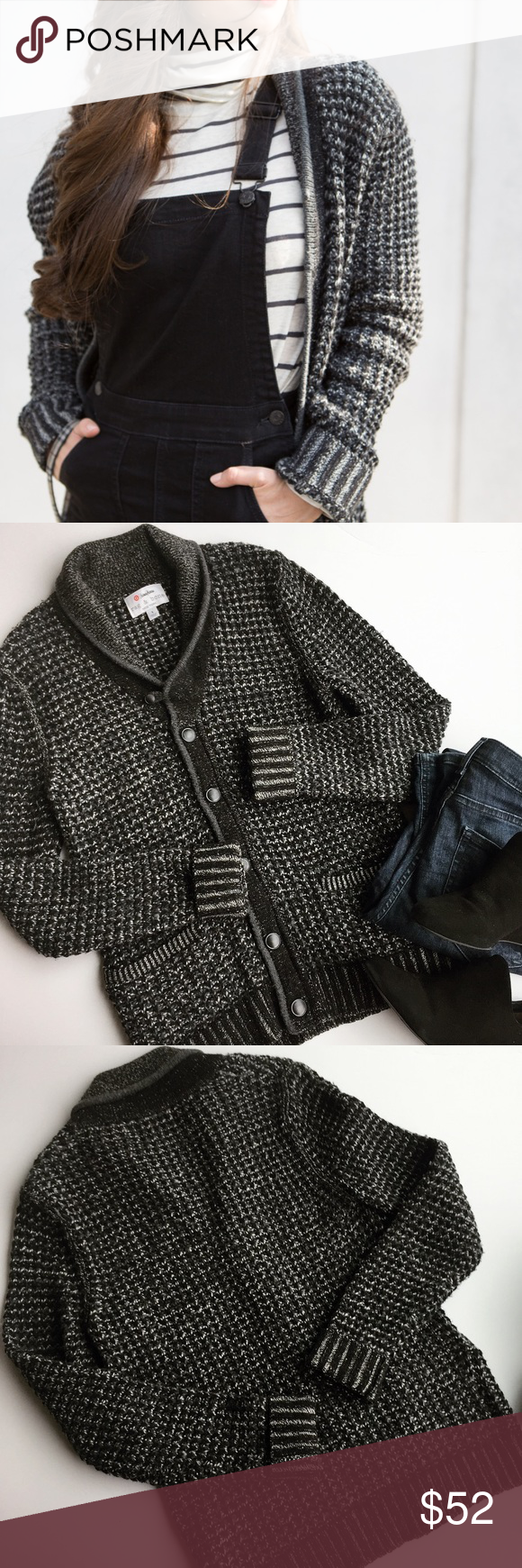 - RAG & BONE for TARGET - Chunky Cardigan Cozy & chic this sweater is the perfect addition to any fall wardrobe. Chunky waffle knit of black, grey and white thread makes a gorgeous marled knit. Collar, cuff and pocket ribbing adds extra detail. Excellent pre-loved condition, no flaws. �Bundle & Save 15% on 2+ items! ��No trades / selling off of Posh. �Offers always welcome!� (low-ball offer =
