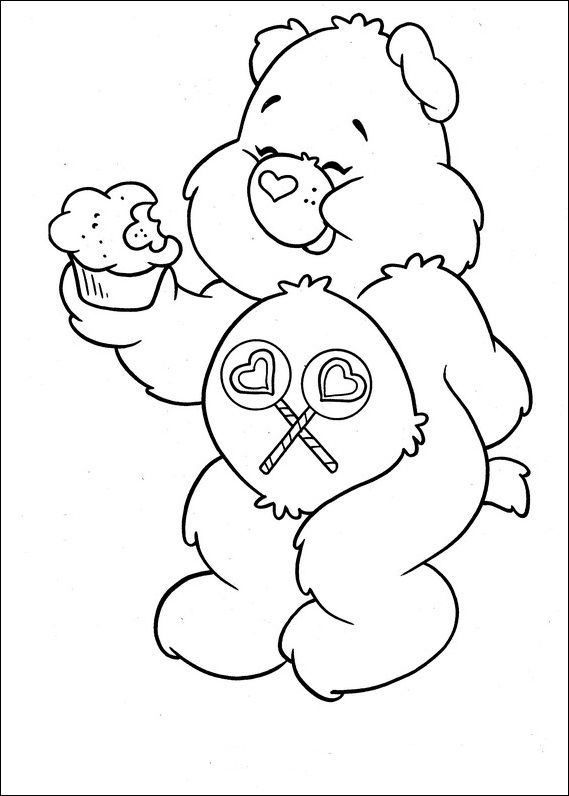 Care Bears Was Eating Cake Coloring Pages For Kids D8m Printable Care Bears Coloring Pages For Kids Bear Coloring Pages Coloring Books Coloring Pages
