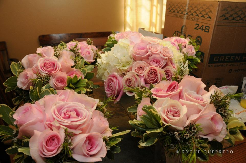 My Wedding Bouquet Is In The Center, And The Bridesmaids