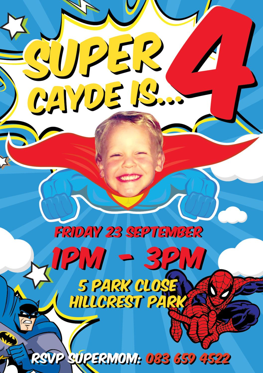 Super hero party invitation by ABrandAdventure on Etsy