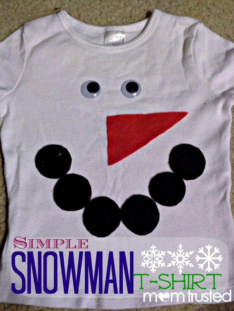 af0da58cc DIY simple snowman t-shirt all you need is felt and glue!