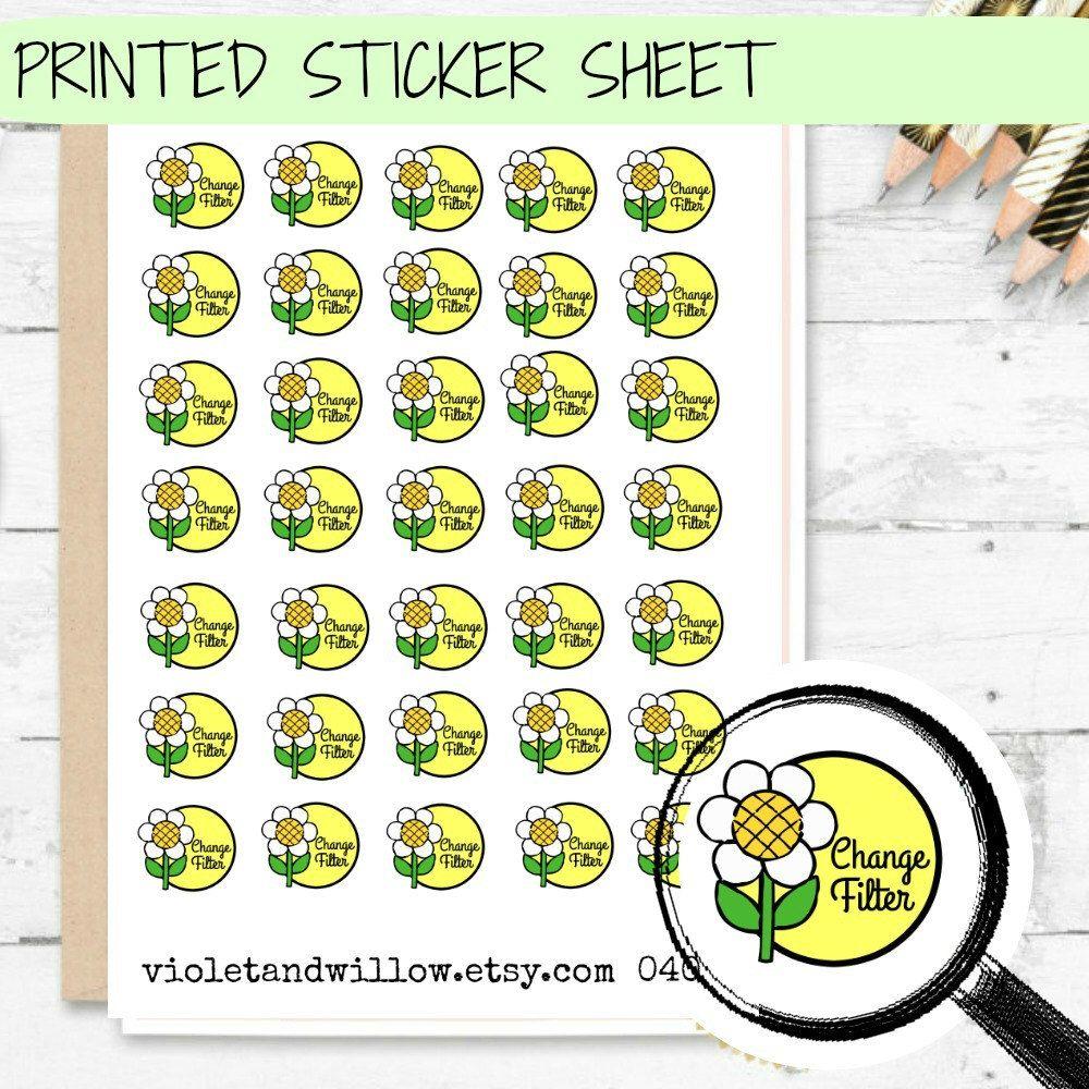 Change filter reminders printed planner sticker sheet