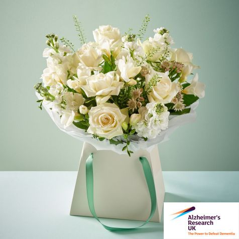Not only does our August Bouquet Of The Month come packed with a sensational mix of roses, stocks, fabulously fragrant freesia, alstrania and greenbell, but 10% of all sales are donated to Alzheimer's Research UK too!
