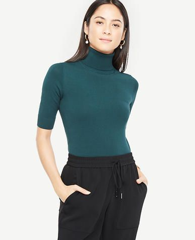 8336f3377d Image of Petite Elbow Sleeve Turtleneck color Antique Jade | 'Cause ...