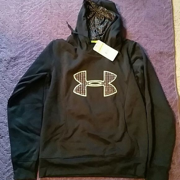 Under Armour Sweatshirt Never worn. Great condition. Black with lime green trim. Under Armour Tops Sweatshirts & Hoodies