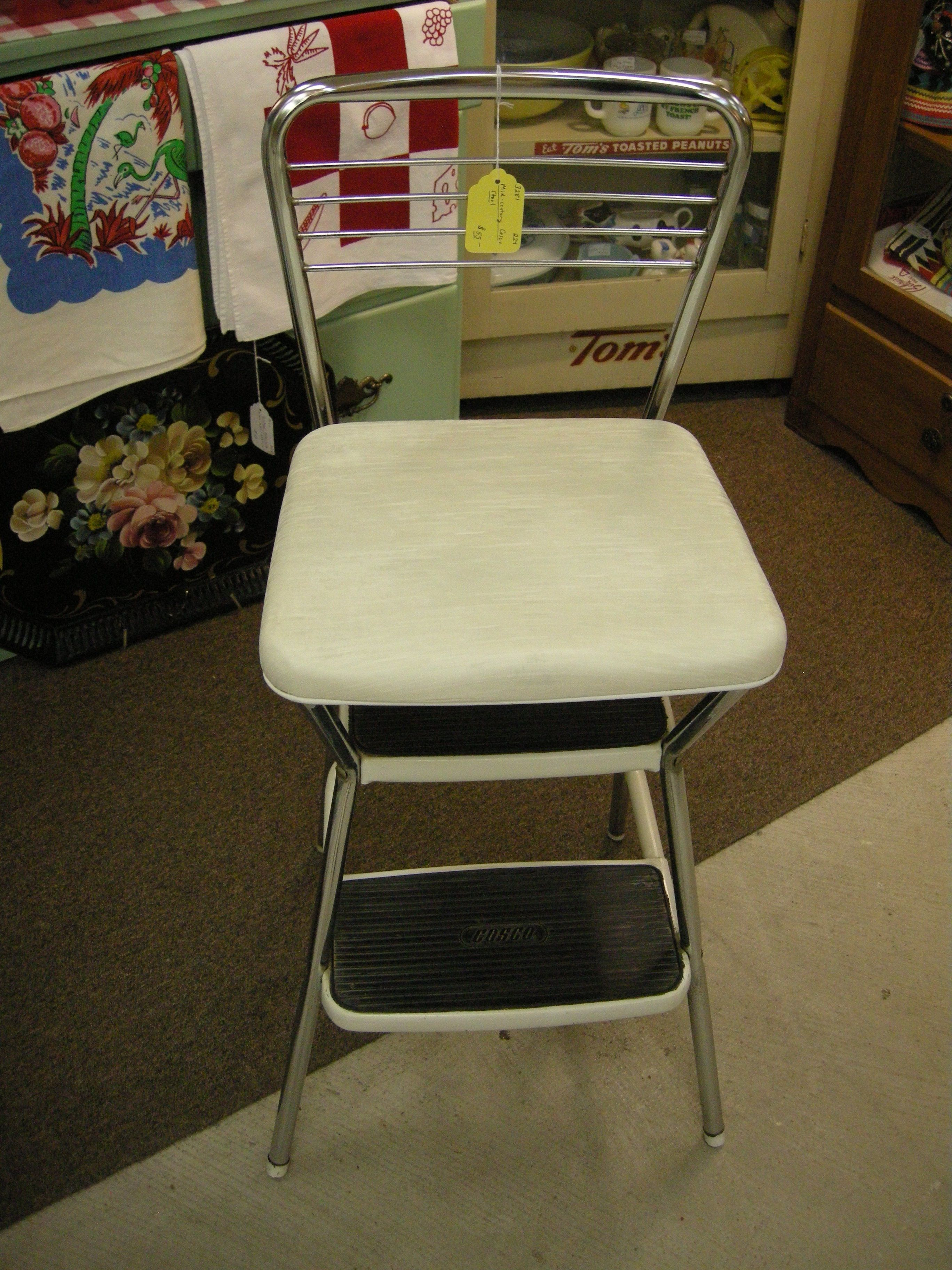 Vintage Cosco Kitchen Stool With Fold Up Seat Sold Reupholster