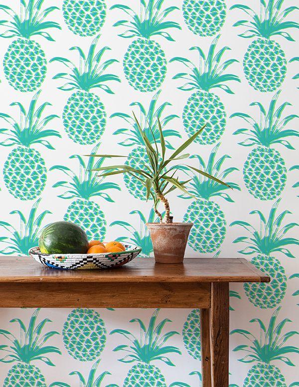 Piña Sola Caribe, Papel vinilico y Bordado moderno - tapices modernos