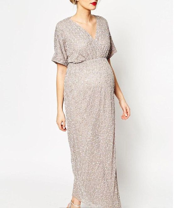 Custom maternity 'Emma' full sequin cross top, empire waist, gathered or  wrap skirt formal dress with sleeves for bridesmaids and weddings