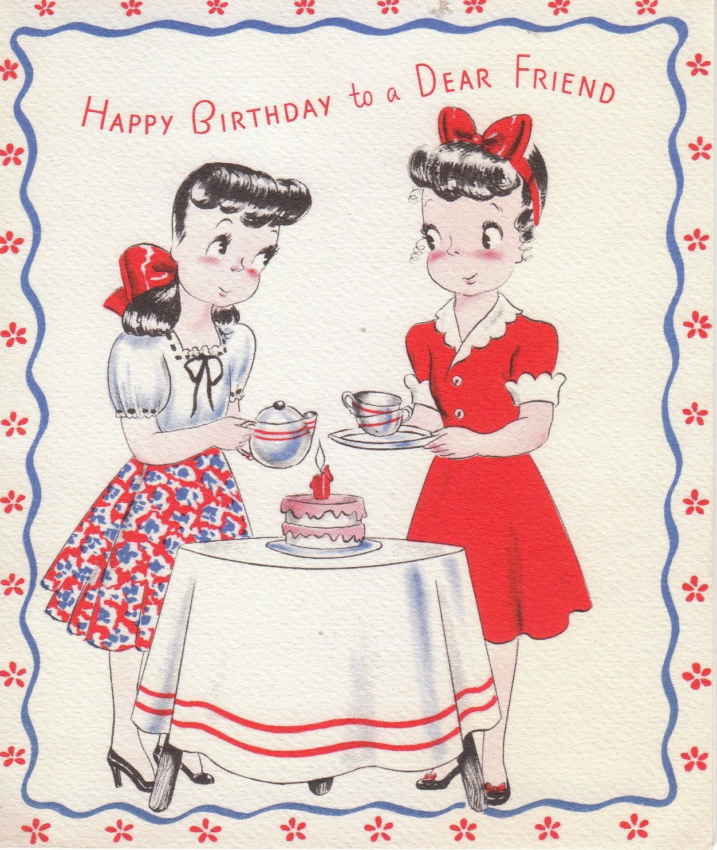 Vintage Birthday Card Happy Birthday To A Dear Friend Depicts