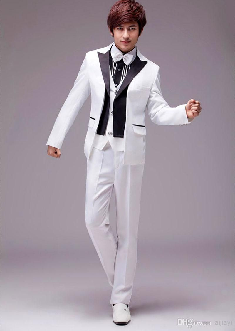 Hot ! White Tuxedo Jacket Black Lapel Wedding Dresses Mens Slim ...