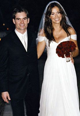 Happily married husband and wife couple: Jeff Gordon and Ingrid Vandebosch