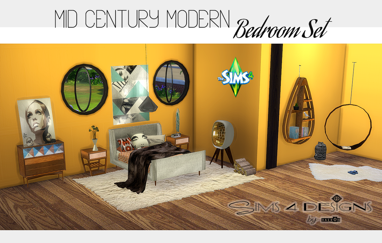 Mid century modern bedroom new meshes sims 4 designs