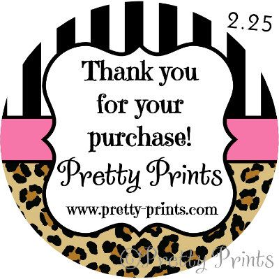 Personalized stickers leopard print pink set of 12 round labels 2 25 in