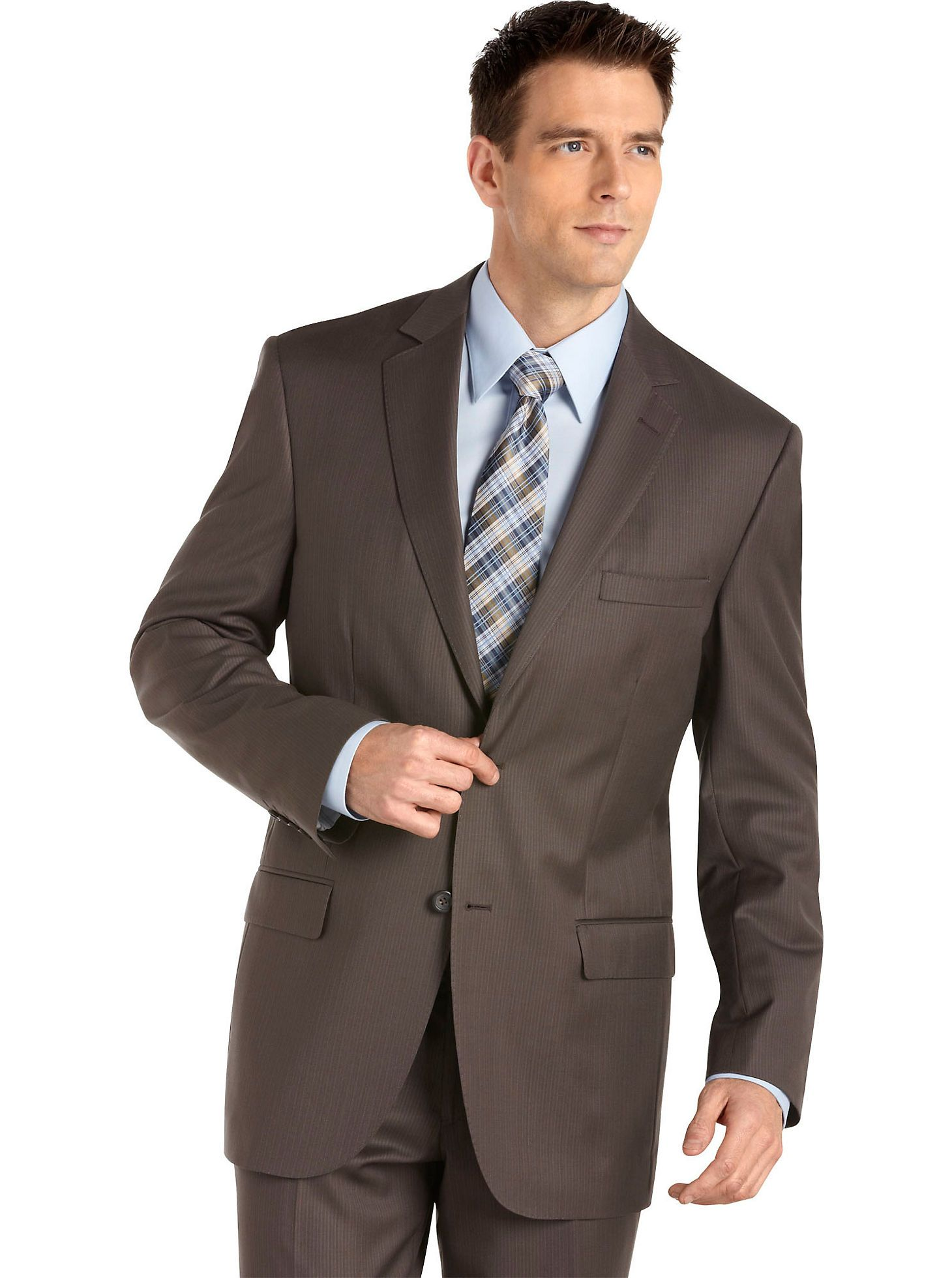 Pronto Platinum Taupe Multistripe Suit - Men's Wearhouse ...